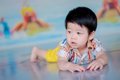 Cute little  Asian boy Happy smilling  in the park outdoors , Happy kids.  royalty free stock photos