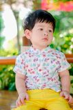 Cute little  Asian boy Happy smilling  in the park outdoors , Happy kids.  stock photos