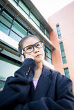 Cute little Asian business woman Royalty Free Stock Photos