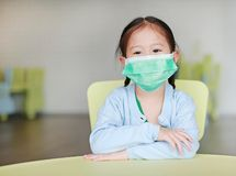 Cute little Asian child girl wearing a protective mask sitting on kid chair in children room.  royalty free stock photos