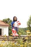 Little asian girl American flag stock photo