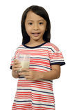 Cute Little Asian Girl Drinking Milk Royalty Free Stock Images