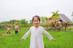 Cute little Asian girl Stretch arms at the fresh green paddy fields.  stock photos