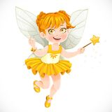 Cute little autumn fairy girl with a Magic wand Royalty Free Stock Photo