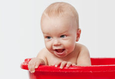 Cute little babe is bathed in a basin Stock Photo
