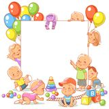 Baby girls and boys in play room. Stock Photos