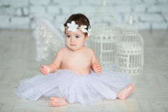 Cute little baby angel. Little baby girl with angel wings Stock Photography