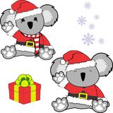 Cute little baby koala cartoon santa claus costume set Royalty Free Stock Images