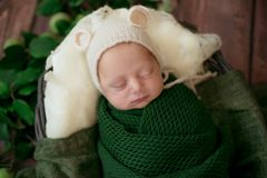 Cute little baby in a beanie hat lies in a wicker basket in a green blanket with green leaves and apples. Autumn mood.