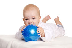 Cute little baby with blue ball Royalty Free Stock Photo
