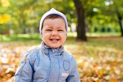 Cute little baby boy in autumn park stock photos