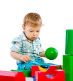 Cute little baby boy with colorful building block Stock Images