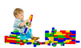 Cute little baby boy with colorful building block Stock Photography