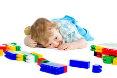 Cute little baby boy with colorful building block Royalty Free Stock Image