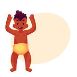 Cute little baby boy dancing happily Stock Photo