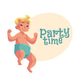 Cute little baby boy dancing happily, party invitation, poster design Stock Image