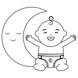 Cute little baby boy with moon vector illustration
