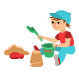 Cute little baby boy with playing in the sandbox. Toddler with toy bucket and shovel for sand. Cartoon vector Stock Image