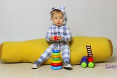Baby Boy Playing. Cute Little Baby Boy Playing Toys royalty free stock photography
