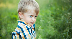 A cute little baby boy sit in the grass Stock Image