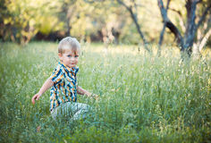 A cute little baby boy sit in the grass Stock Photo