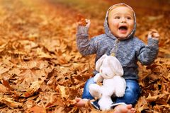 Baby boy playing in autumn park. Cute little baby boy sitting on the ground covered with dry leaves in the park, little cheerful child playing with soft toy in Royalty Free Stock Photos