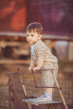 Cute little baby boy standing near metal fence in autumn yard Stock Photography