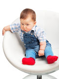Cute little baby boy on a white Royalty Free Stock Photos