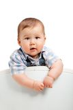 Cute little baby boy on a white Royalty Free Stock Photo