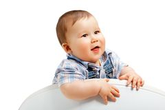 Cute little baby boy on a white Stock Photography