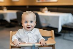 Cute little baby boy in white polo t-shirt sitting in wooden baby chair and laughing at cafe indoors. Portrait of. Adorable blond kid having fun at restaurant royalty free stock photography