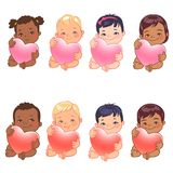 Cute little baby boys and girls of various nations hold heart. Set of round user pics with babies. Cute little baby girl and boy of various nations hold heart royalty free illustration