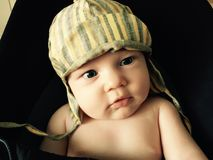 Cute little baby with cap Royalty Free Stock Image