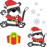 Cute little baby cat cartoon santa claus costume set Stock Photography