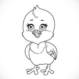 Cute little baby chick outlined Royalty Free Stock Photo