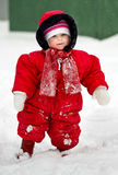 Cute little baby clothing in big jumpers in the snowy park Royalty Free Stock Photography