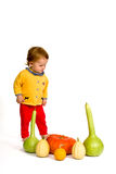 Cute little baby with colorful pumpkins Royalty Free Stock Photography