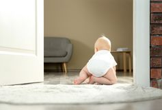 Cute little baby crawling on rug indoors. Space for text stock images