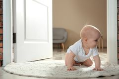 Cute little baby crawling on rug indoors. Space for text stock photos