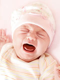 Cute little baby crying royalty free stock images