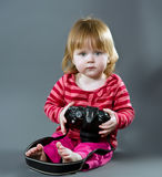 Cute little baby with digital photo camera Stock Photography