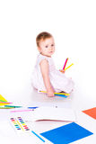 Cute little baby drawing Royalty Free Stock Photo