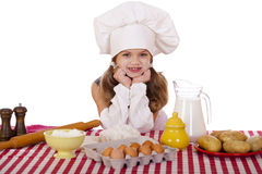 Cute little baby dressed as a cook Royalty Free Stock Photo