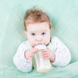 Cute little baby drinking milk formula out of bottle Stock Image