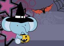 Cute little baby elephant cartoon halloween costume background. Cute little baby animal cartoon halloween costume background in vector format very easy to edit Royalty Free Stock Photo