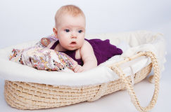 Cute little baby fashion lies in the basket. And surprise looks away on a white background Stock Photo