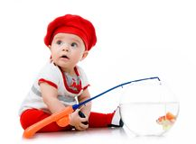 Cute little baby fishing Royalty Free Stock Image