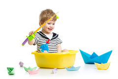 Cute little baby fishing Stock Images