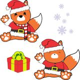 Cute little baby fox cartoon santa claus costume set Stock Photography