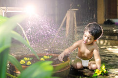 Cute little baby girl bathing Royalty Free Stock Photo